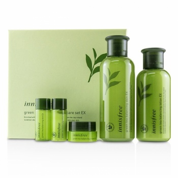 INNISFREE GREEN TEA BALANCING SET 700g (SKIN 200ml + SKIN 15ml + LOTION 160ml + LOTION 15ml + CREAM 10ml)